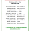 Munneries Christmas Opening Times 12/12/17